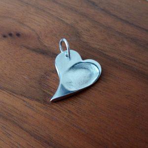 TLK Fingerprint Heart Slanted Charm
