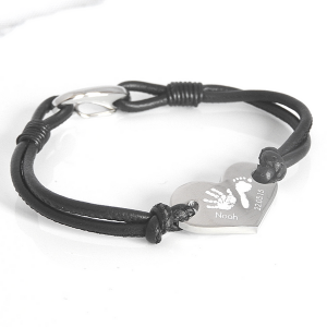 Engraved Leather Heart Bracelet