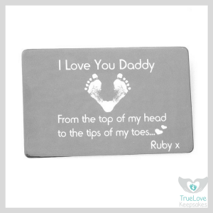 I Love You Footprint Engraved Wallet Card Father's Day Gift