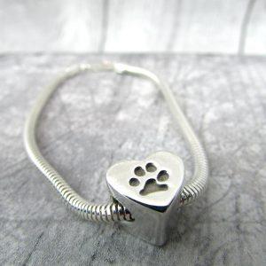 Paw Print Charm Bead Bracelet