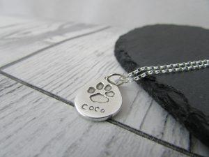 paw print necklace teardrop