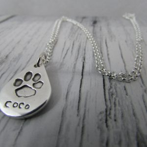 Teardrop Paw Print Necklace