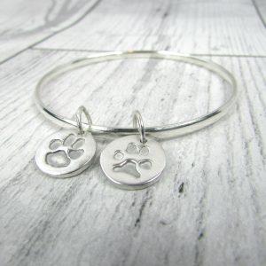Double Charm Paw Print Bracelet
