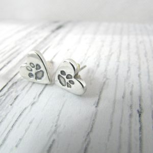 Heart Paw Print Earrings