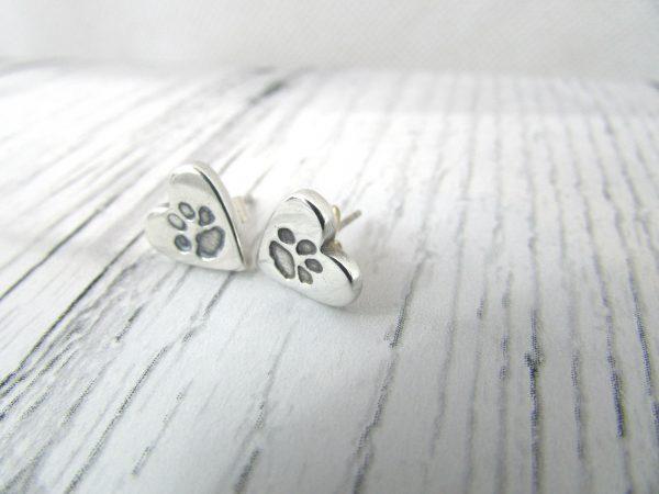 Heart Paw Print Earrings