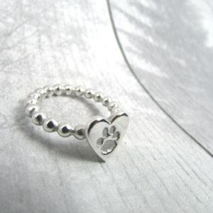 Beaded Paw Print Ring