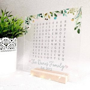 printed word search plaque