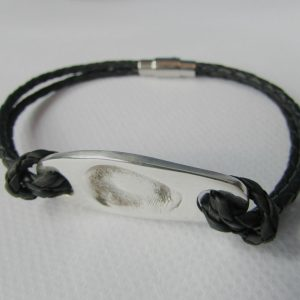 mens personalised leather fingerprint bracelet