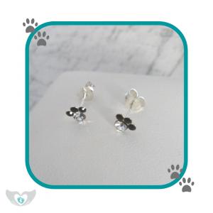 dinky paw print diamante stud earrings