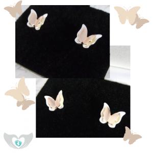sterling silver rose gold butterfly stud earrings