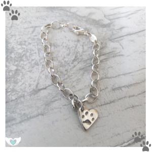 dinky heart paw print belcher bracelet