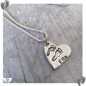 footprint heart charm necklace