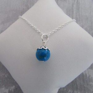Blue Howlite Gemstone Dainty Necklace with an ornamental bead cap