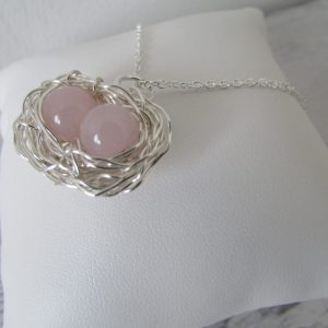 rose quartz two egg gemstone nest necklace