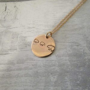 mamma bear copper rose gold round disc necklace showing 2 baby bears with mother bear