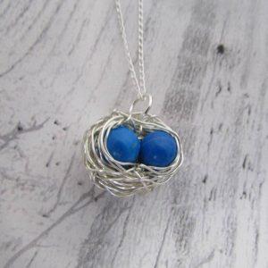 blue howlite gemstone 2 eggs nest necklace
