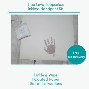 inkless handprint/footprint kit to capture the handprint and footprint of baby and adult